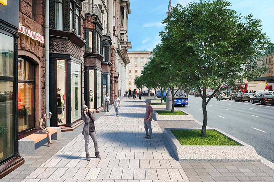 Широкие тротуары и большое количество лип: как поменяется Тверская улица после благоустройства