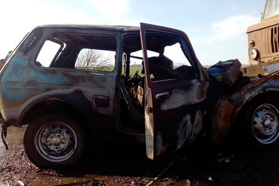 Шофёр автомобиля умер взагоревшейся после ДТП машине
