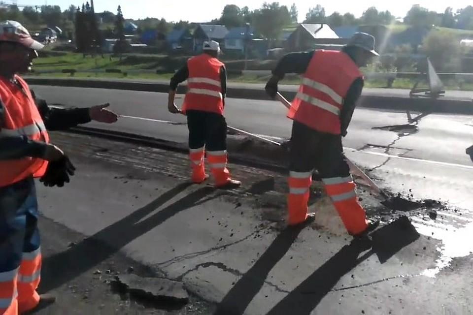 Кузбасс: из-за видео всоцсети наказали подрядчика уличных работ