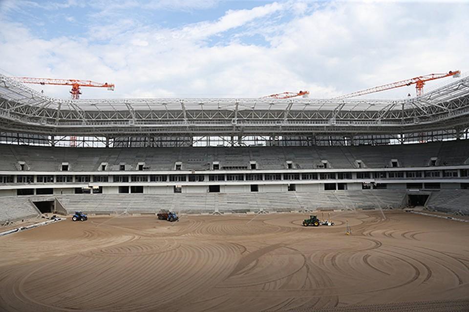 Настадионе кЧМ-2018 вКалининграде засеяли футбольное поле