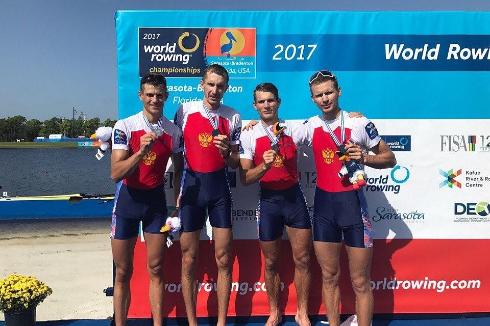 Жители России взяли серебро чемпионата мира поакадемической гребле вчетверке без рулевого