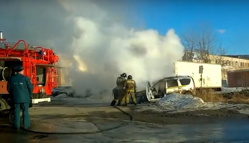 Всё моментально вспыхнуло. Такси сгорело вЧелябинской области