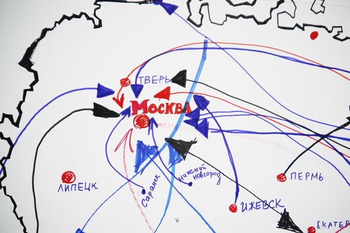 Во время радиомарафона мы рисовали на карте России стрелками, куда можно переехать ради работы. Оказалось, что больше всего работы по-прежнему в Москве. Но и в других городах России её оказалось предостаточно!