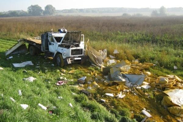 Липчанин нагрузовике перевернулся вРязанской области