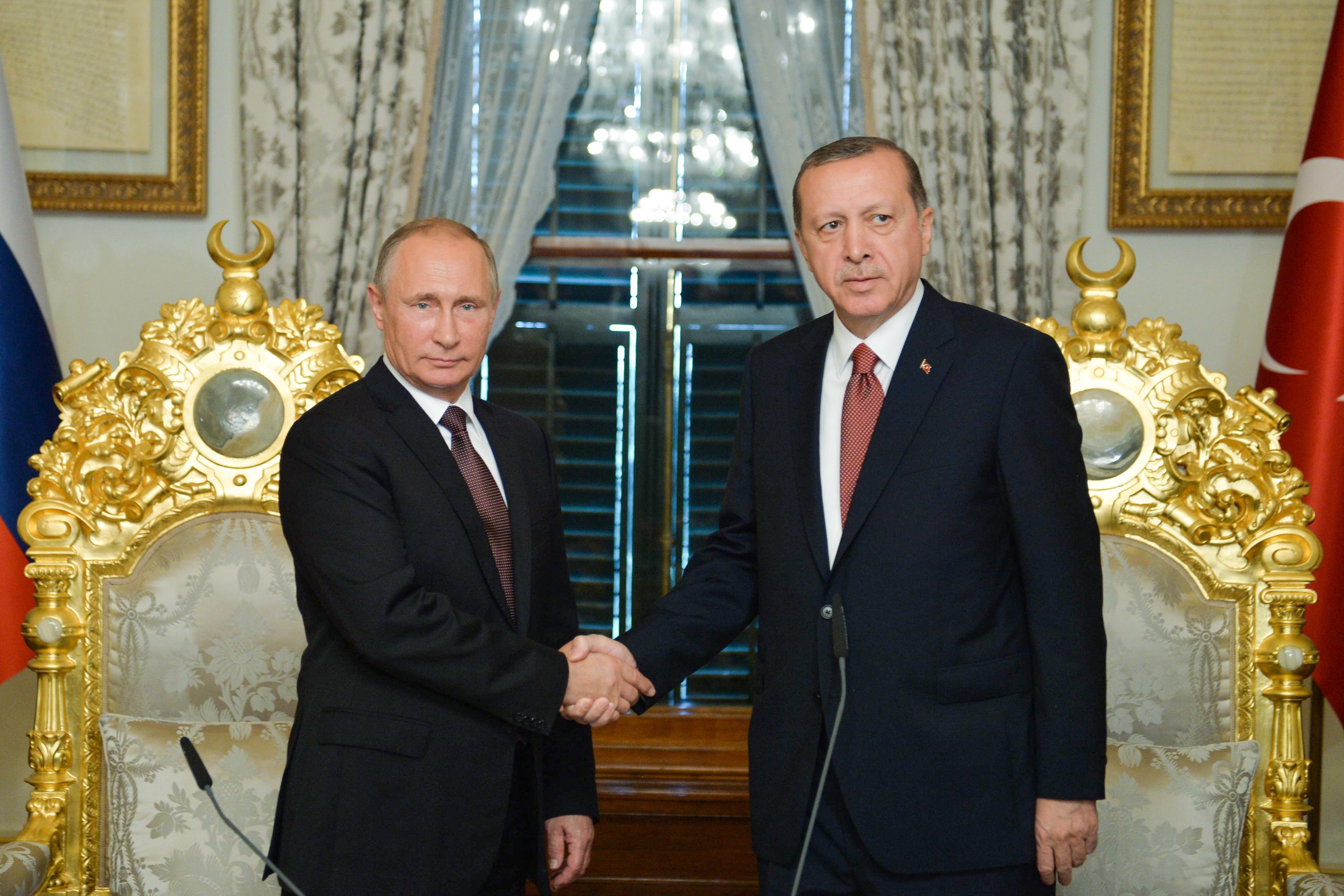 Президент РФ Владимир Путин и президент Турции Реджеп Эрдоган (слева направо) во время встречи. Фото: Алексей Дружинин/пресс-служба президента РФ/ТАСС
