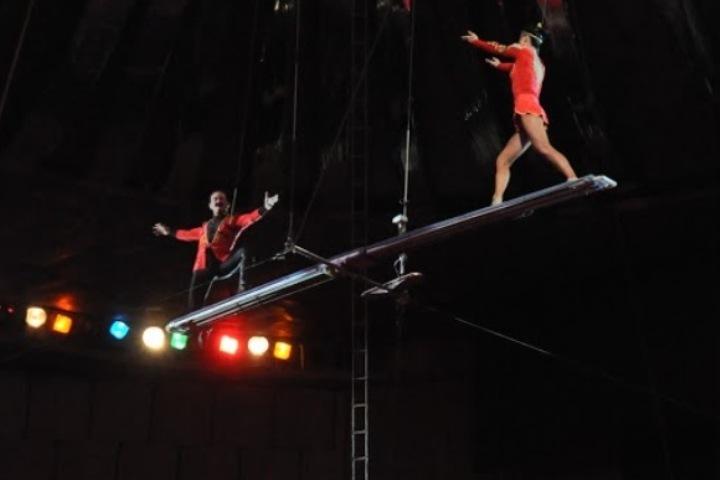 ВПермском цирке наженщину сдочкой рухнул шест для канатаходца