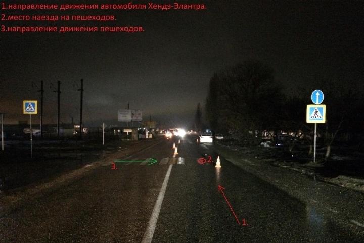 НаСтаврополье водитель-девушка сбила двоих пешеходов