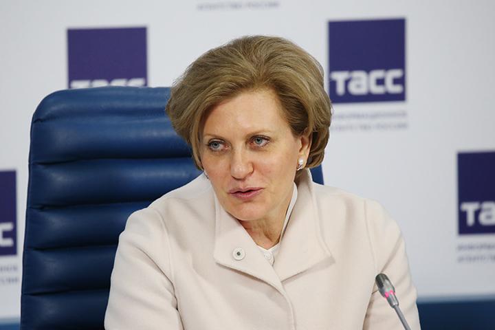 Глава Роспотребнадзора Анна Попова на пресс-конференции в ТАСС. Фото: Артем Геодакян/ТАСС