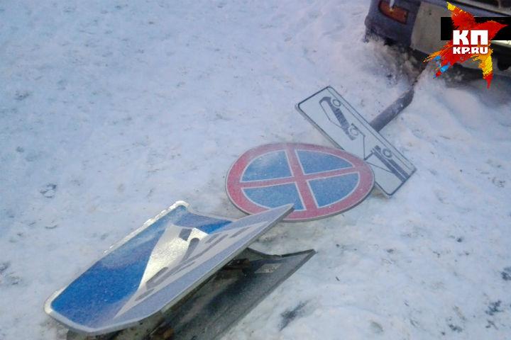 ВКемерове дорожный знак упал надевочку