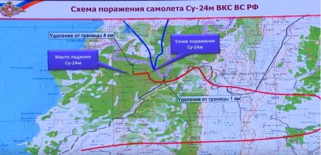 Министерство обороны показало траекторию полета сбитого на границе Сирии и Турции российского бомбардировщика Су-24 Фото: скриншот с видео на youtube