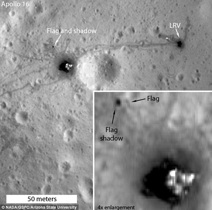 И на месте посадки Апллона-16 флаг вроде бы виден.