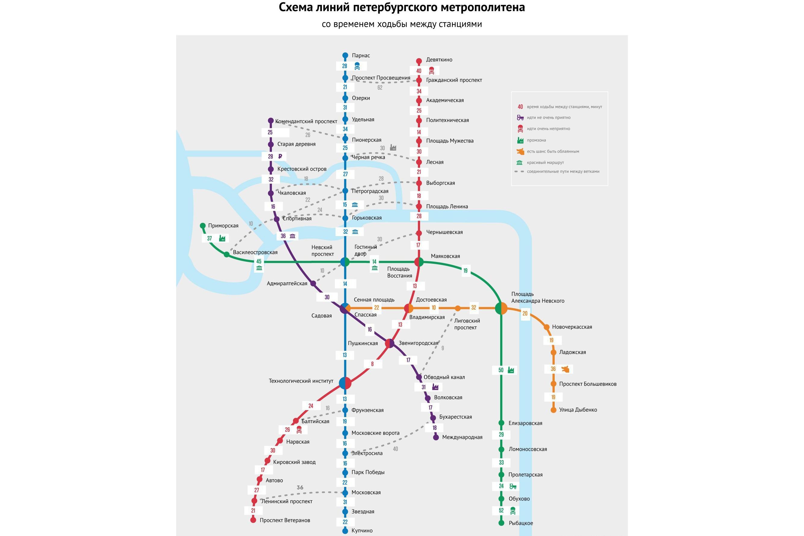 Схема метро и мцк москвы с расчетом времени в пути.