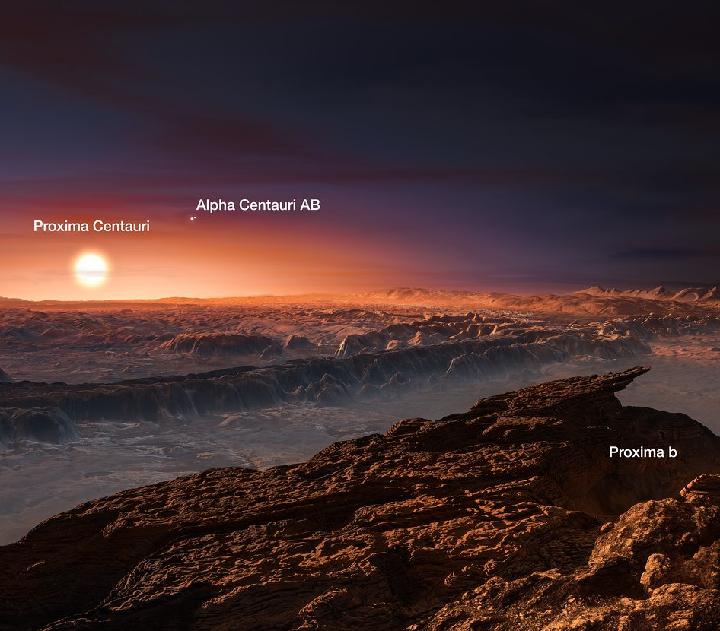 На небе Proxima b видны три солнца - одно большое и два маленьких.