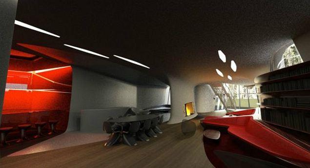 Холл. Убранство дома выдержано в стиле бионика - смесь современных технологий с природными формами.