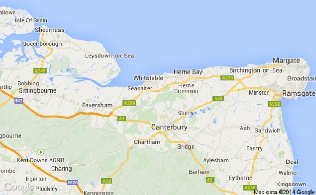Уайтстейбл расположен примерно в 90 километрах от Лондона. Прежде гигантские крабы сюда не захаживали.