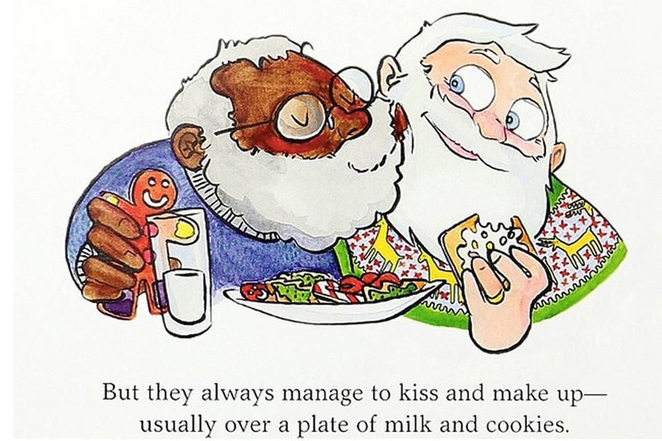 Брак не только нетрадиционный, но и межрасовый: один Санта — белый, другой — афроамериканец