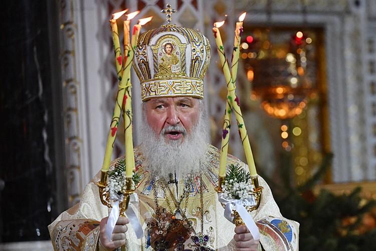 Праздничную службу в храме Христа Спасителя возглавил Патриарх Московский и всея Руси Кирилл