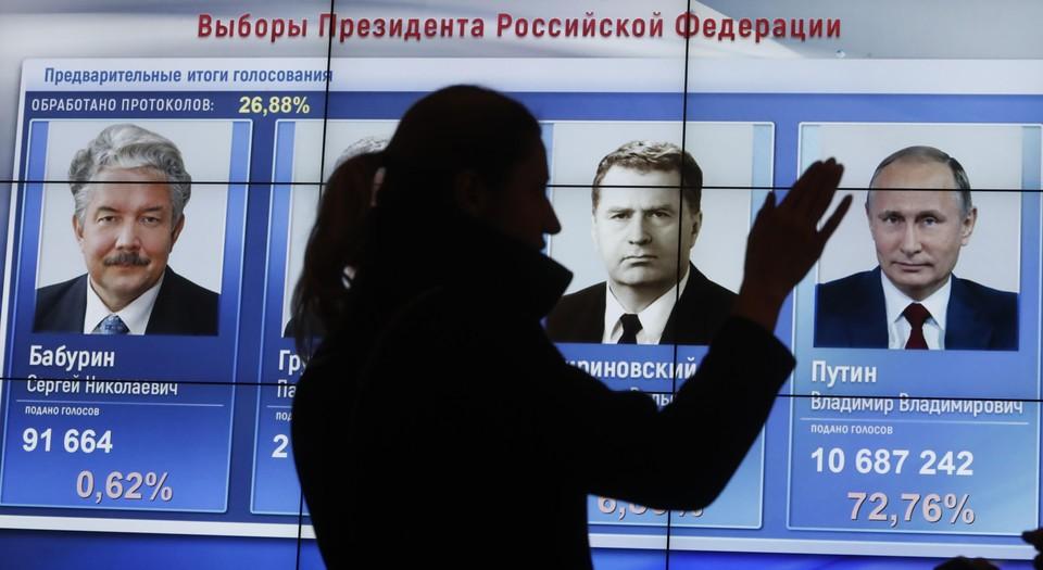 По предварительным данным, уверенную победу на выборах одержал действующий президент России Владимир Путин.