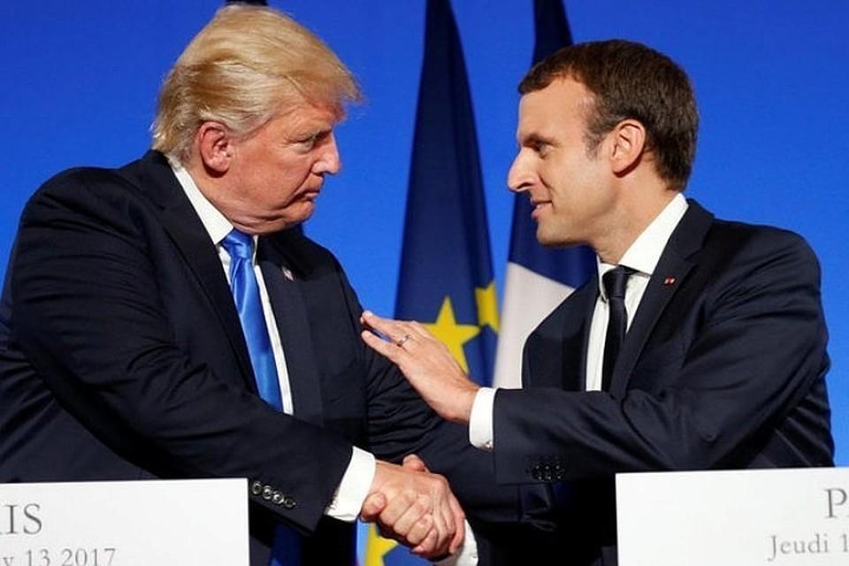 Президенты США и Франции Дональд Трамп и Эммануэль Макрон