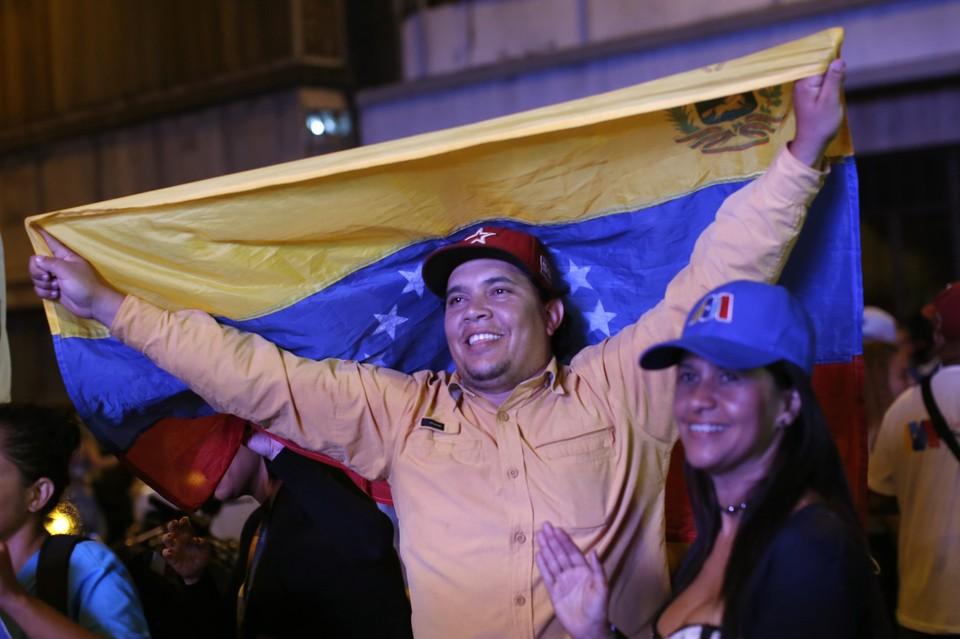 На митинге поддержки Николаса Мадуро в Каракасе.