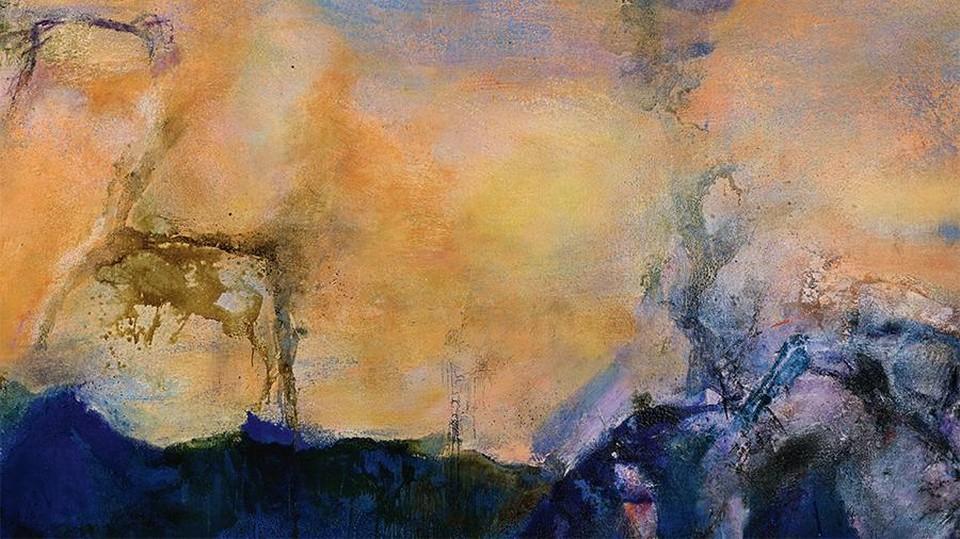 Сама работа представляет собой оранжево-синий пейзаж, выполненный в стиле абстракции