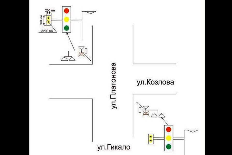 В Минске будут установлены два экспериментальных светофора, схема от ГАИ. Фото: ГУВД.