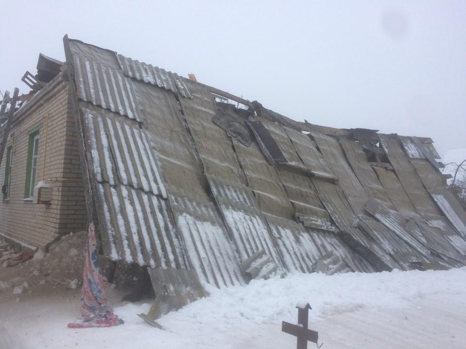 В Горках обрушилась кровля частного дома Фото:Могилевское областное управление МЧС.