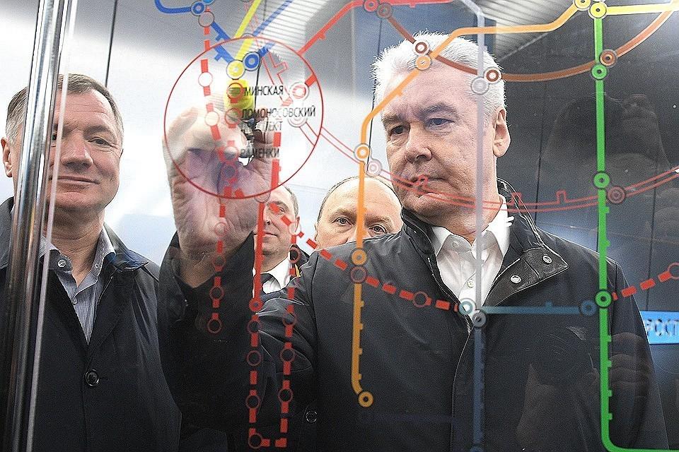 Сергей Собянин на открытии очередной станции столичного метро.