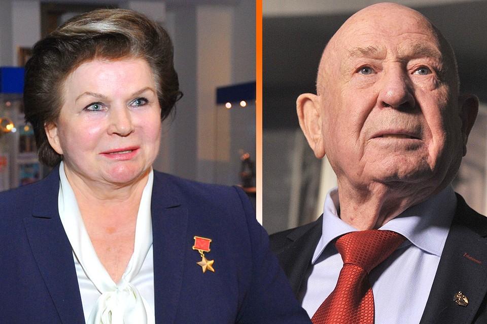 Валентина Терешкова и Алексей Леонов в московском планетарии, 2016 год.
