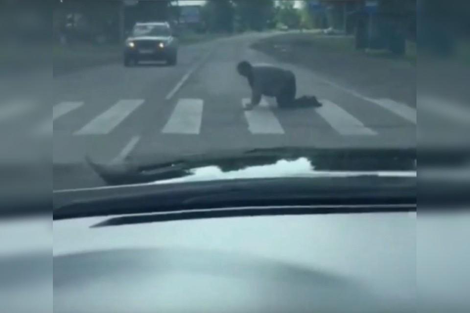 «Все согласно ПДД»: в соцсетях обсуждают пьяного сибиряка, который на четвереньках переполз дорогу по «зебре». Фото: группа Инцидент Иркутск.