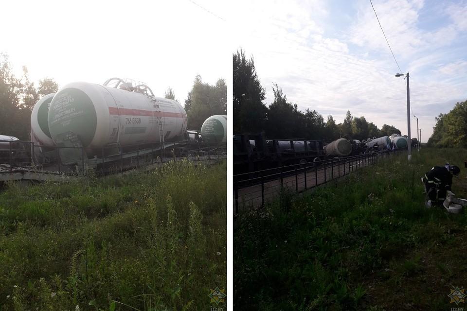 Почти два десятка цистерн с пропаном сошли с железнодорожных путей в Витебской области. Фото: МЧС.