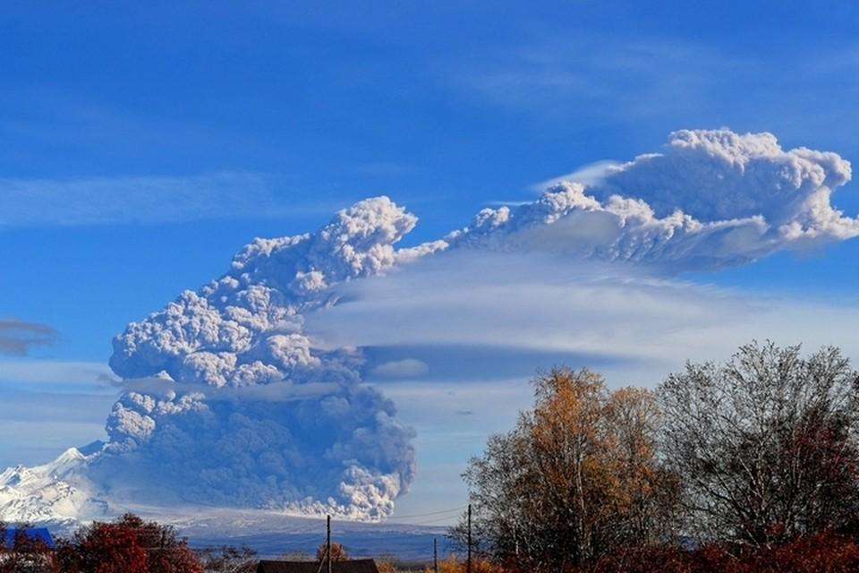 Вулкан Шивелуч – самый северный действующий вулкан на Камчатке. Фото: Ю. Демянчук. ИВиС ДВО РАН, KVERT