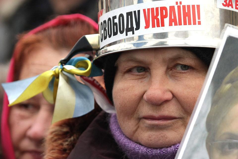 Участница Евромайдана, зима 2014 года.