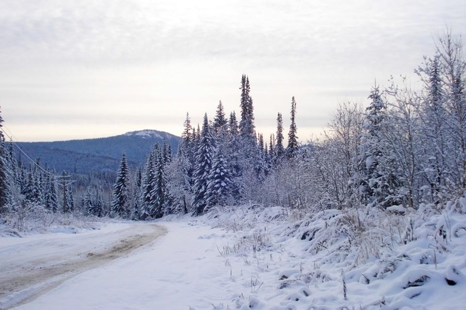 Вот так выглядят Восточные Саяны после снегопада. Вниз идет техническая дорога: здесь рядом строят вторую линию железной дороги и грузовики ездят на карьеры за гравием