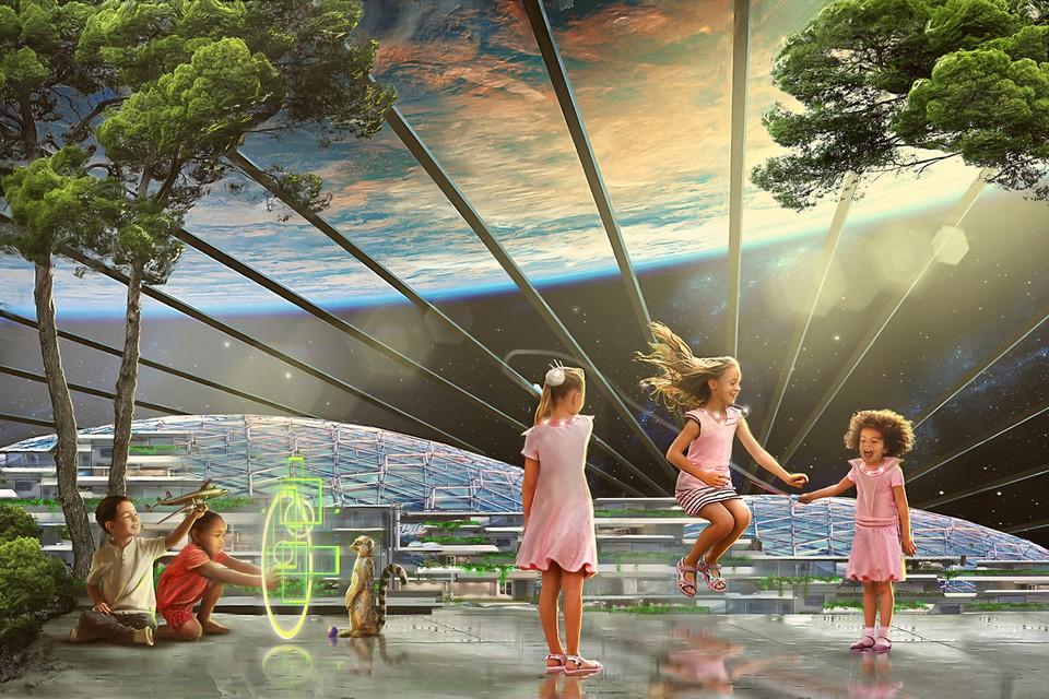 Дети играют в космическом городе. Фото: Джеймс Вон/Министерство информации и коммуникаций Асградии.