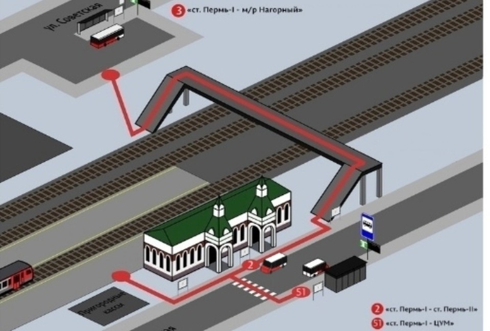 Схема размещения остановок на Перми-1.