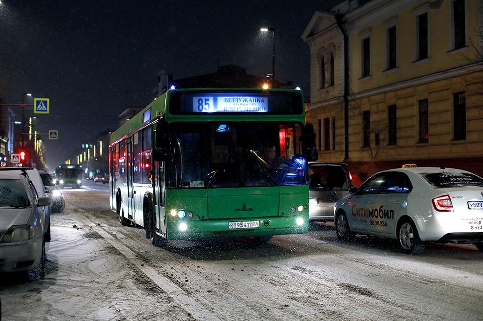 Рассказываем, как будут ходить автобусы в новогоднюю ночь в Красноярске