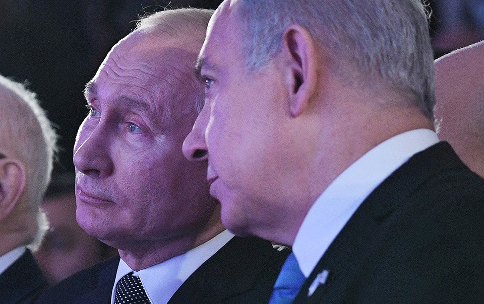 Владимир Путин и Биньямин Нетаньяху на открытии мемориала героям Блокадного Ленинграда.