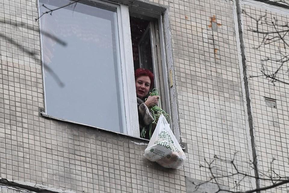 Передача продуктов застрявшей в карантине Дарье Асламовой через окно.