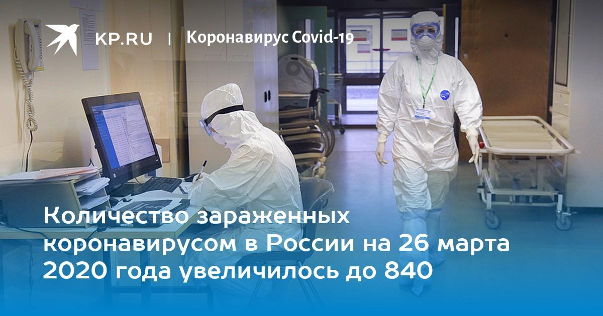 Количество зараженных коронавирусом в России на 26 марта 2020 года увеличилось до 840