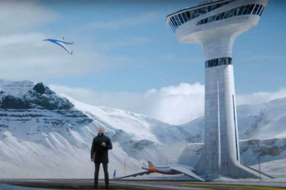 Так будет выглядеть стандартный местный аэропорт в полярном поселке. На смену прожорливым вертолетам придут экономичные и экологически чистые экранопланы, электролеты и дирижабли. Фото: Скриншот видео.