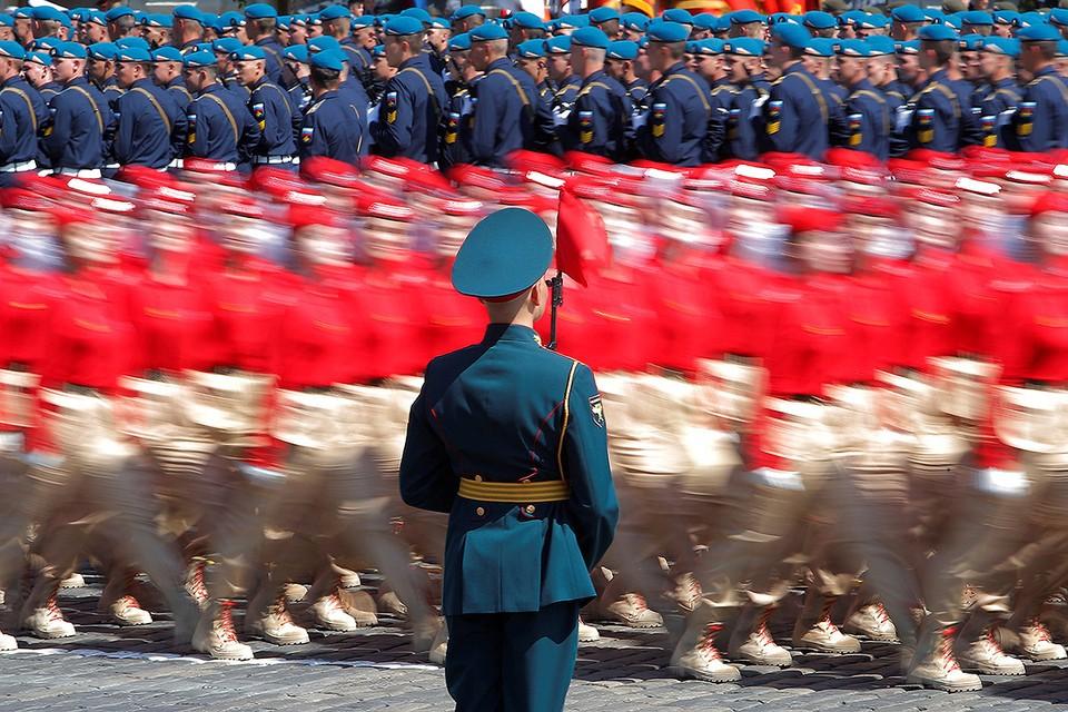 Во время парада по случаю 75-летия Победы в Великой Отечественной войне на Красной площади.