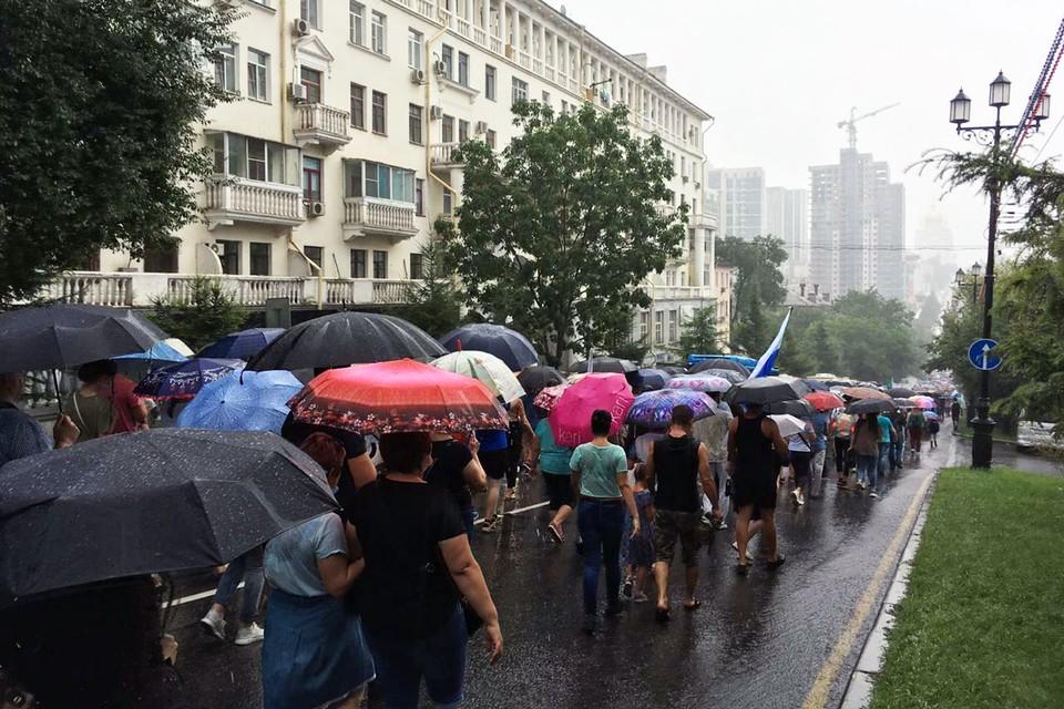 Очередная акция в Хабаровске прошла под проливным дождем