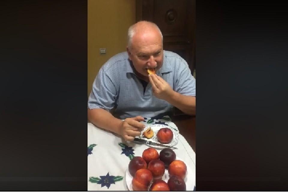Персики оказались испорченными (Фото: скрин с видео).