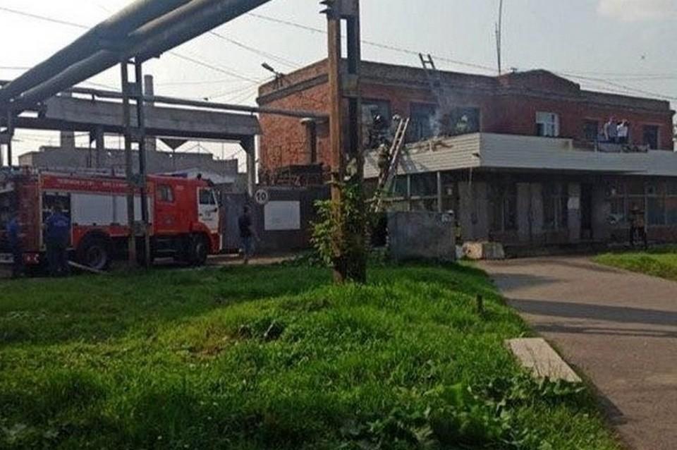 В Красноярске загорелось помещение завода «Красфарма». Фото: соцсети
