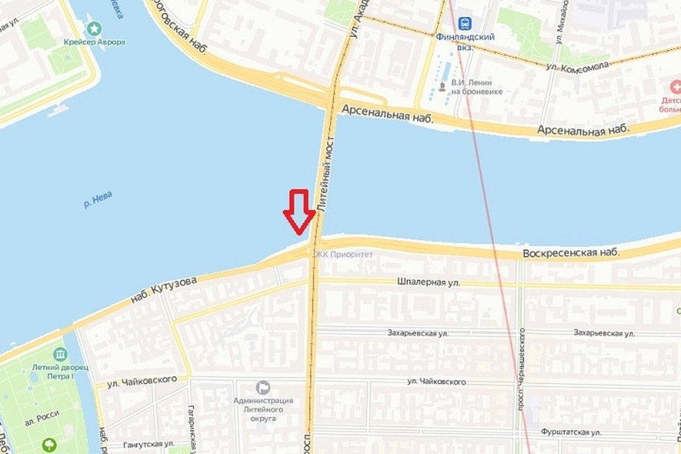 Под литейным мостом два месяца будет идти ремонт. Фото: Яндекс. Карты