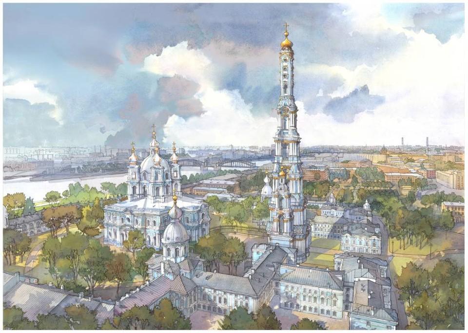 Так может преобразиться территория у Смольного собора. Фото: Юлия Михайлова.