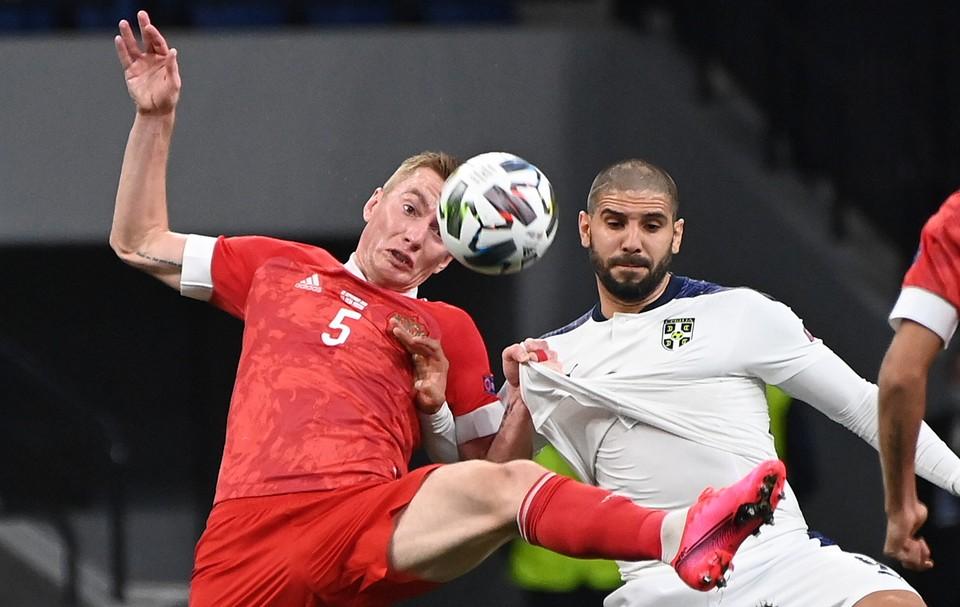 Россия сыграла против Сербии.