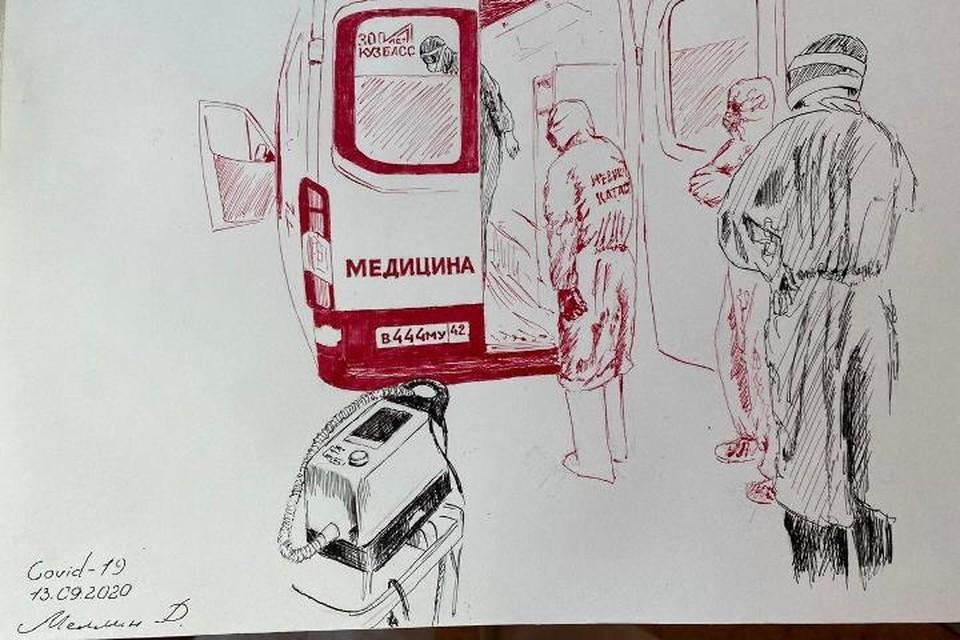 Кемеровский хирург создает рисунки о борьбе врачей с коронавирусом. Фото: Минздрав Кузбасса