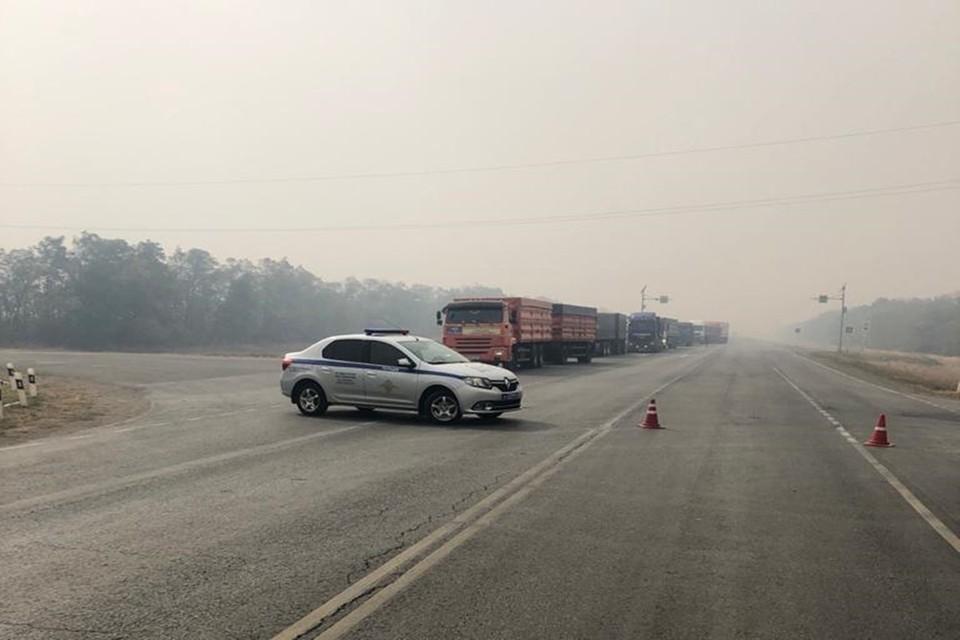 Возле проезжей части загорелся лес. Фото: отдел пропаганды УГИБДД по Ростовской области.